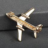 """Брошка """"Літак"""", колір: золото, фото 3"""