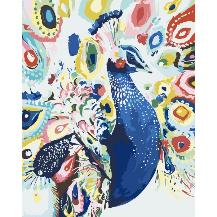 Картина по номерам Идейка - Яркий павлин 40x50 см (КНО2492)