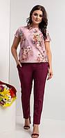 Женский летний брючный костюм, ткань софт, на талии резинка,  р.44-46, 48-50, 52-54, 56-58, 62-64  марсала
