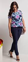 Женский летний брючный костюм, ткань софт, на талии резинка,  р.44-46, 48-50, 52-54, 56-58, 62-64 тем-синий