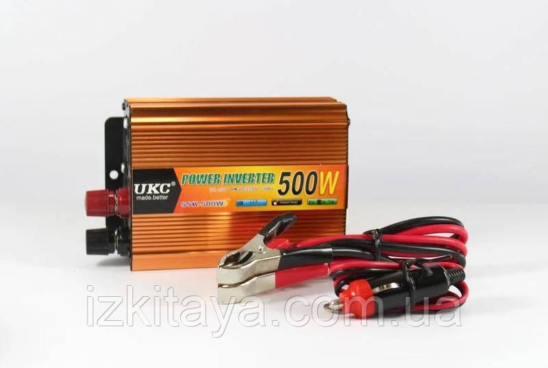 Инвертор UKC 500W 24V в 220V Преобразователь тока AC/DC Gold