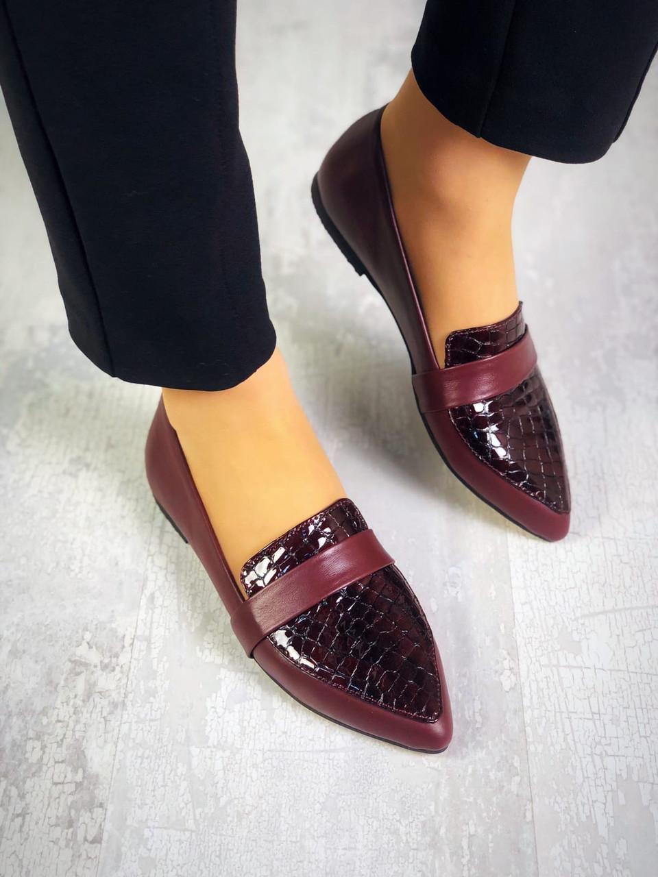 Стильные кожаные туфли балетки 36-40 р марсала