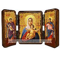Аз Есмь с Вами и Никтоже на Вы Икона Пресвятой Богородицы (складень тройной 140х100мм)