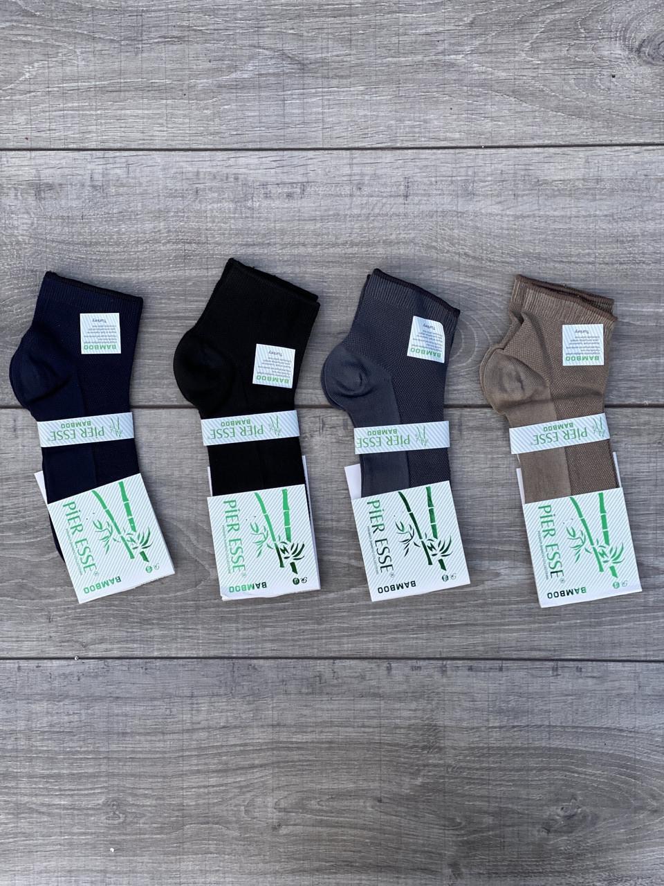 Чоловічі шкарпетки середні в сітку бамбук Pier Esse однотонні 40-45 12 шт в уп мікс 4 кольорів