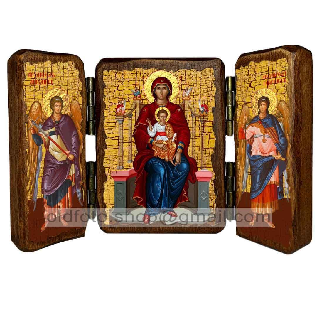 Икона Пресвятая Богородица на престоле  ,икона на дереве 260х170 мм