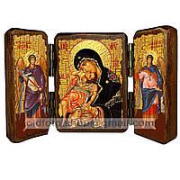 Взыграние Младенца Икона Пресвятой Богородицы (складень тройной 140х100мм)