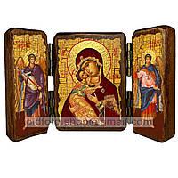 Владимирская Икона Пресвятой Богородицы (складень тройной 140х100мм)