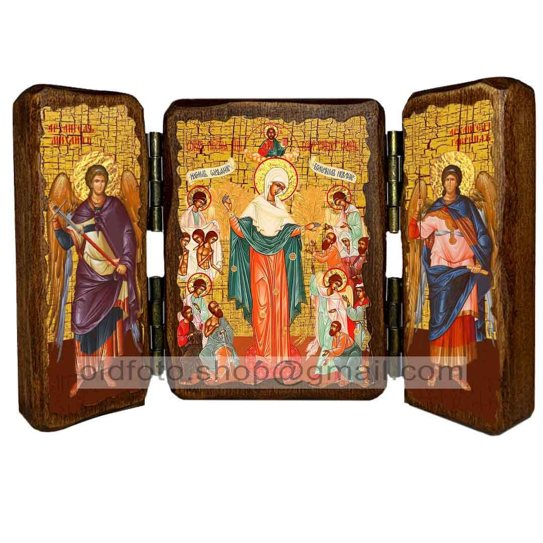 Всех Скорбящих Радость Икона Пресвятой Богородицы  ,икона на дереве 260х170 мм