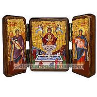 Живоносный Источник Икона Пресвятой Богородицы (складень тройной 140х100мм)