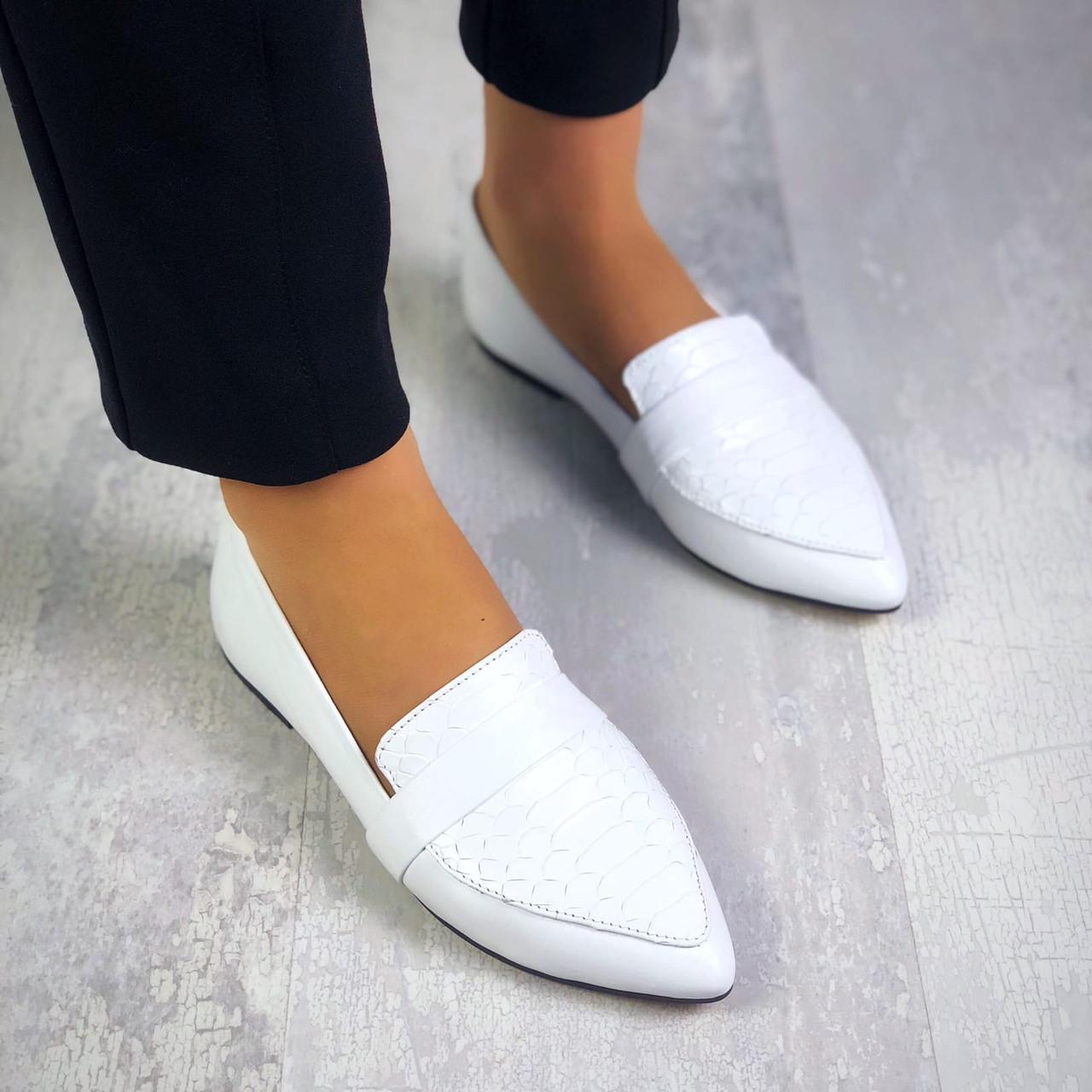 Стильные кожаные туфли балетки 36-40 р белый