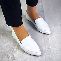 Стильные кожаные туфли балетки 36-40 р белый, фото 1