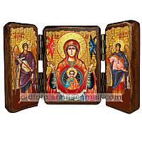 Знамение Икона Пресвятой Богородицы (складень тройной 140х100мм)