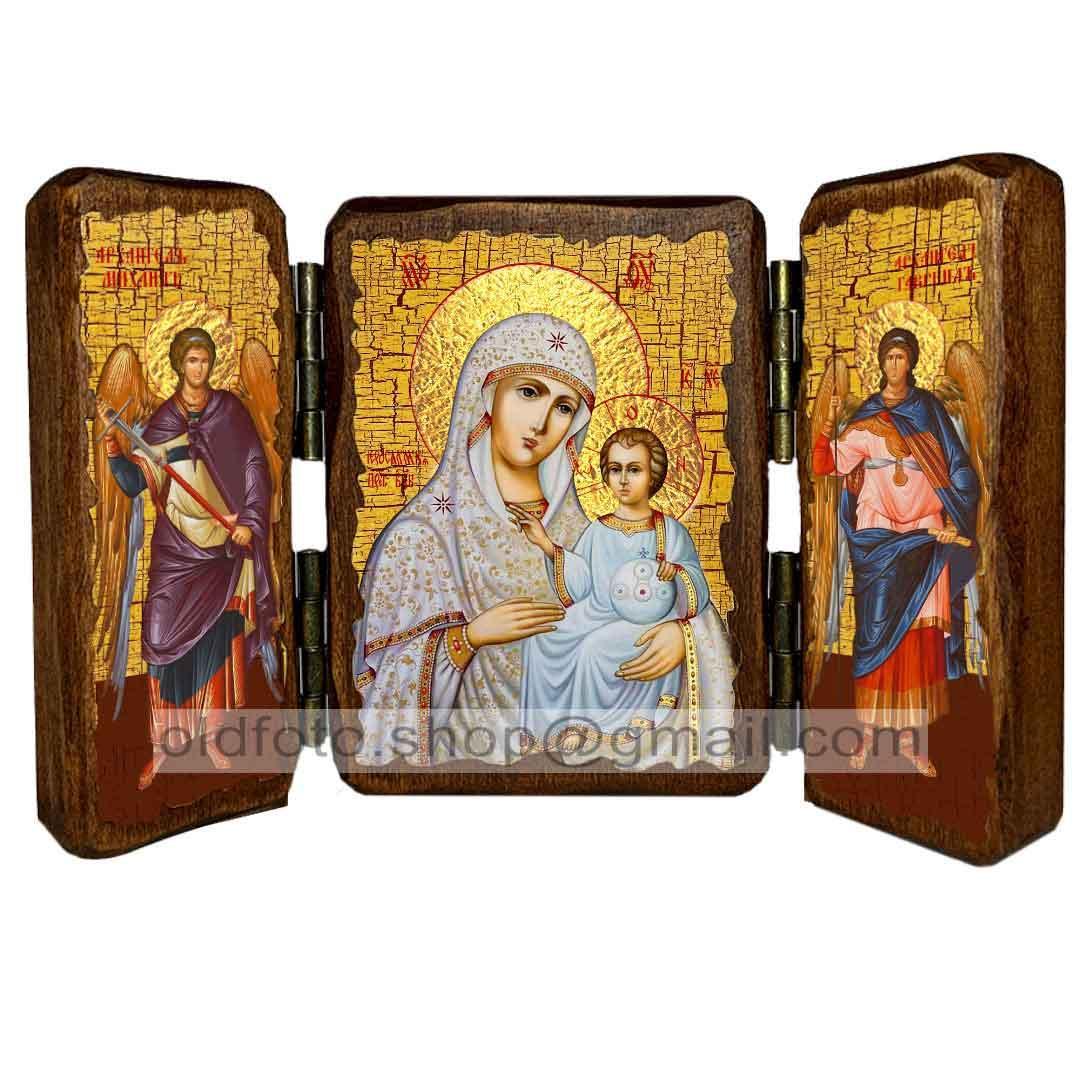 Иерусалимская Икона Пресвятой Богородицы (складень тройной 140х100мм)