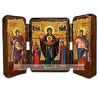 Мирожская Икона Пресвятой Богородицы (складень тройной 140х100мм)