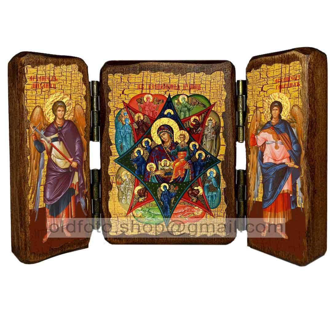Неопалимая Купина Икона Пресвятой Богородицы  ,икона на дереве 260х170 мм