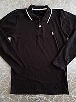Мужская черная футболка P, поло с длинным рукавом