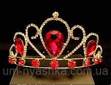 Диадема на обруче Корона золотая с красными камнями