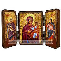 Одигитрия Сумельская (Панагия Сумеля) Икона Пресвятой Богородицы (складень тройной 140х100мм)