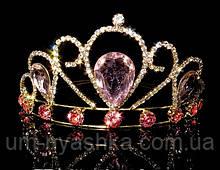 Диадема на обруче Корона золотая с розовыми камнями