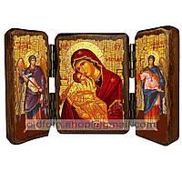 Сладкое Лобзание (Гликофилуса) Икона Пресвятой Богородицы (складень тройной 140х100мм)