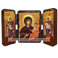Одигитрия (Смоленская) Икона Пресвятой Богородицы (складень тройной 140х100мм)