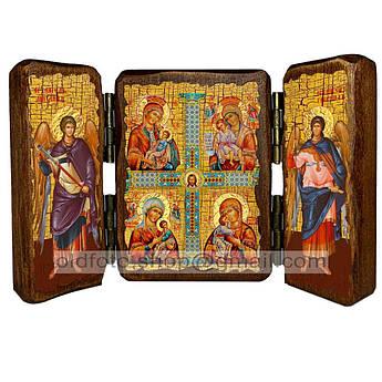 Четырехчастная икона Божией Матери  ,икона на дереве 260х170 мм