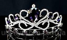 Диадема на обруче Корона серебряная с фиолетовыми камнями