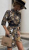 Ассиметричное платье - рубашка на пуговицах из софта, с ремнём, элементом запаха, рукав 3/4 (42-46), фото 1