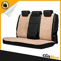 Накидки, авточехлы на сидения автомобиля Алькантара стиль, Бежевые, задний комплект