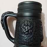 Келих керамічний пивний чорнодимлений ручної роботи 1л, фото 2
