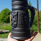 Келих керамічний пивний чорнодимлений ручної роботи 1л, фото 3
