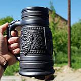 Келих керамічний пивний чорнодимлений ручної роботи 1л, фото 4