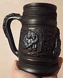 Келих керамічний пивний чорнодимлений ручної роботи 1л, фото 5