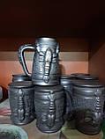 Келих керамічний пивний чорнодимлений ручної роботи 1л, фото 7