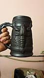 Келих керамічний пивний чорнодимлений ручної роботи 1л, фото 9
