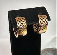 Серьги из медицинского сплава, в форме кольца широкие, позолота 18К, Xuping оригинал
