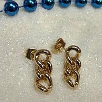 Серьги из медицинского сплава, гвоздики, форма цепь, позолота 18К, Xuping оригинал