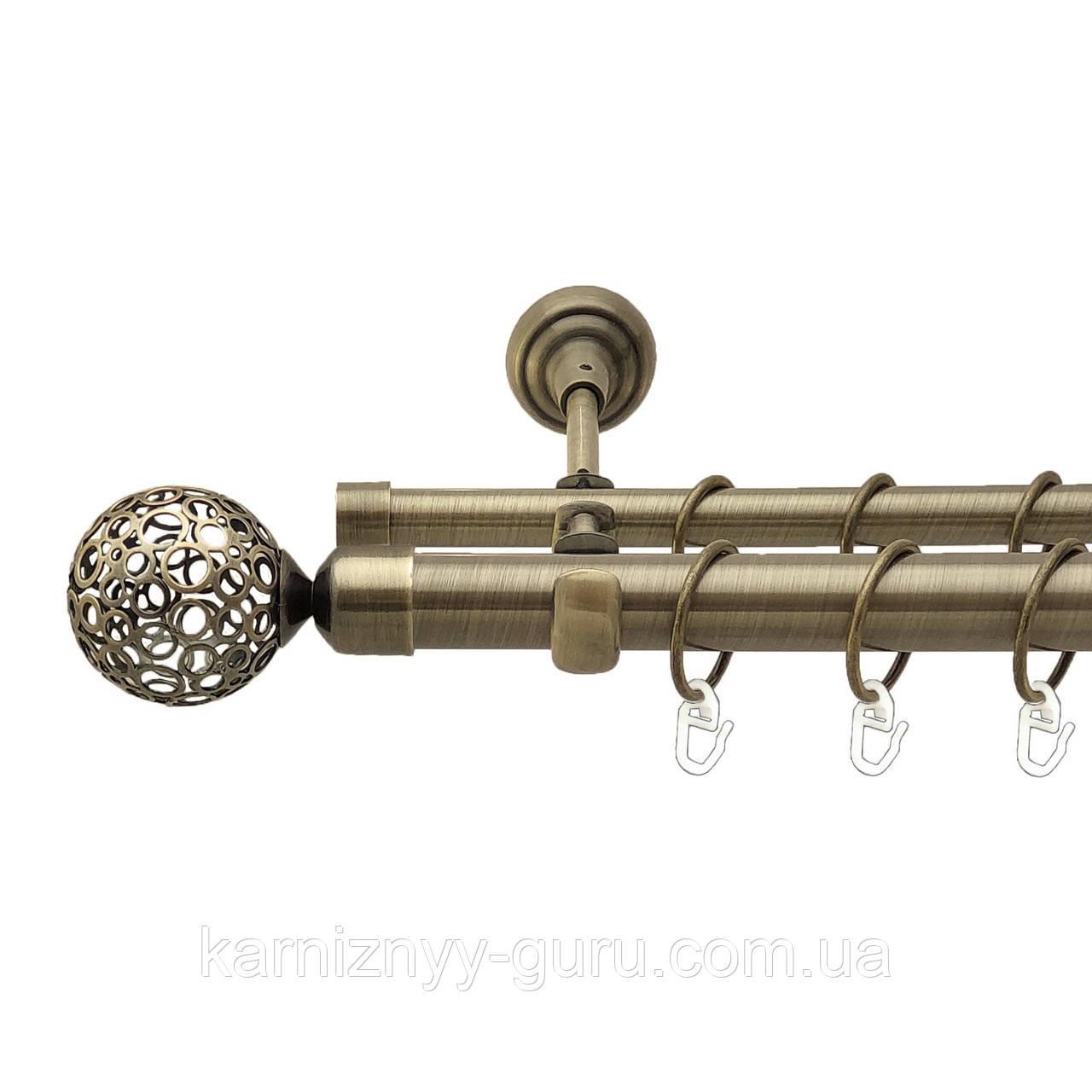 Карниз для штор двойной ø 25+19 мм, наконечник Савона