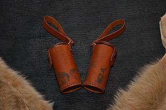 """Подарочный набор стаканчиков с гравировкой """"Походный"""", в чехле из кожи ручной работы, фото 2"""