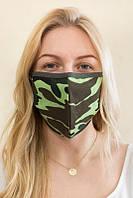 Многоразовая маска тканевая двухслойная зеленая, фото 1