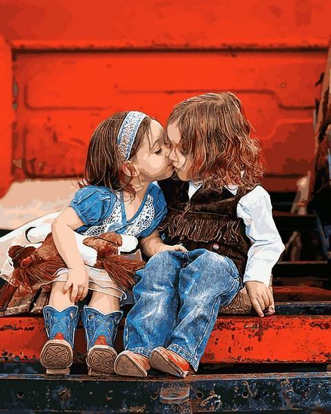 Картина по номерах Mariposa Первый поцелуй 40х50см Q2229 набір для розпису по номерах в коробці