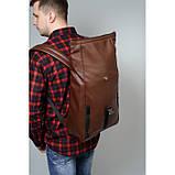 Мужской коричневый рюкзак роллтоп из экокожи (качественный кожзам) городской, офисный, деловой, фото 3