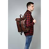 Мужской коричневый рюкзак роллтоп из экокожи (качественный кожзам) городской, офисный, деловой, фото 8