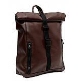 Мужской коричневый рюкзак роллтоп из экокожи (качественный кожзам) городской, офисный, деловой, фото 5