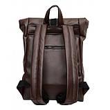 Мужской коричневый рюкзак роллтоп из экокожи (качественный кожзам) городской, офисный, деловой, фото 6