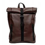 Мужской коричневый рюкзак роллтоп из экокожи (качественный кожзам) городской, офисный, деловой, фото 4