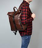 Мужской коричневый рюкзак роллтоп из экокожи (качественный кожзам) городской, офисный, деловой, фото 2