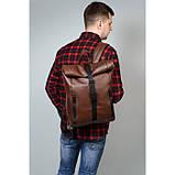 Мужской коричневый рюкзак роллтоп из экокожи (качественный кожзам) городской, офисный, деловой, фото 9