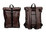 Мужской коричневый рюкзак роллтоп из экокожи (качественный кожзам) городской, офисный, деловой, фото 10