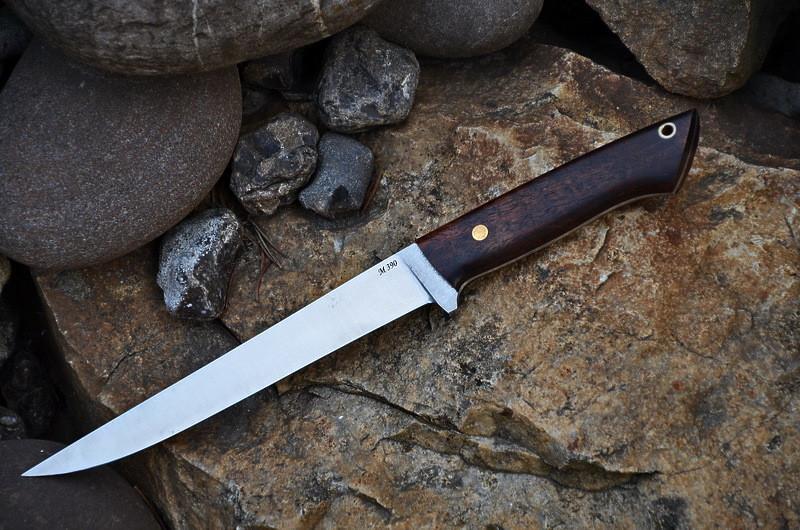 Обвалочный нож ручной работы с рукоятью из сапеле, М390